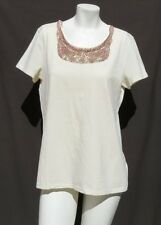 CHICO'S Cream Pink Gold Beaded Sequin Stretch Cotton Knit T Shirt Top 2 M 12 14