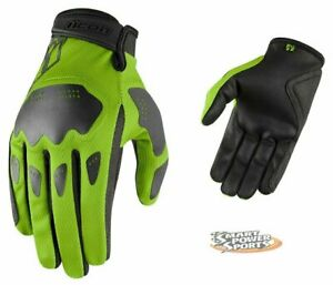 ICON 2021 Adult HOOLIGAN Gloves - GREEN - ALL SIZES - Street - Touch Screen