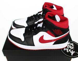 Nike Air Jordan 1 Retro Mid White Gym Red Black 2021 UK 3 4 5 6 7 US New