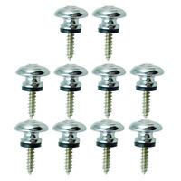 10x Mushroom Head Strap Lock Button for Acoustic Electric Bass Guitar Silver