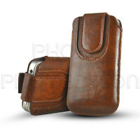 Button Premium PU Leather Pull Tab Pouch Case Cover For Various Mobile Phones