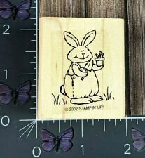 Stampin' Up! Bunny Gardening Rubber Stamp 2002 Wood Mount #AA99