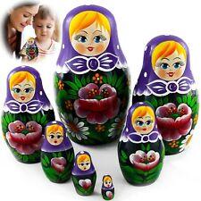 Matryoshka Russian Nesting Doll Set 7 Pcs Babushka in Purple Headscarf Flower