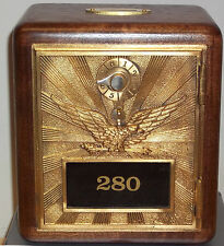 Walnut Post Office Box Door Bank-Early 1900's Yellow Brass Flying Eagle-Size #2