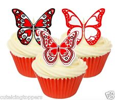 12 PRE CUT EDIBLE RICE WAFER PAPER LOVE HEART BUTTERFLY CUPCAKE PARTY TOPPERS