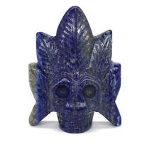 Skull Carving Chief Statue Natural Gemstone Lapis Lazuli Healing Crystal Decor