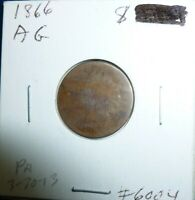 1866  Indian Head Penny Cent  Coin  #66