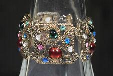 Multi-Color Cabochon Antiqued Gold Link Bracelet Stunning