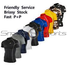 Mens New Short Sleeve Compression Skin Tight Baselayer Training Shirt Rashie TFx