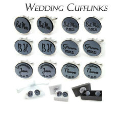 Personalised Round Silver Acrylic Wedding Cufflinks Silver Plated Base +Gift Bag