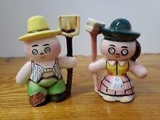 Vintage Lefton Mr & Mrs Farmer Salt And Pepper Shakers Figurines