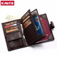 KAVIS Genuine Leather Wallet Men Passport Holder Coin Purse Rfid Magic Walet POR