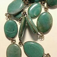 "Antique Medium Green Jadeite Jade 20 Cabochon Necklace 26"" Long Flawless BURMA"