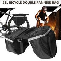 25L Bicycle Double Pannier Travel Bag Cycling Waterproof Bike Rear    AU