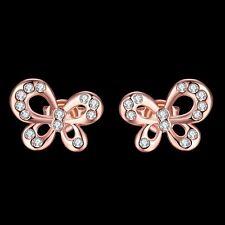 Ear Studs Earrings Bowl Butterfly Gold Plated Women Elegant Crystal Rhinestone