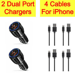 2x Dual Port Car Charger+4x Charging USB Cable Cord For iPhone 12 Pro Max 11 X 8