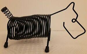 Vintage 1950s Scottie Dog Black Wire Letter Holder Spring Tail Pen Holder Woof!