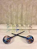6 Long Stem Champagne Flutes w/ No Bases Stand in Ice Bucket & 2 Glass Balss