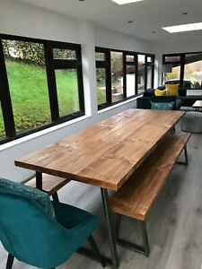 Industrial Dining Table and Bench Solid Wood Vintage Rustic Effect