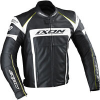 Ixon Fueller Waterproof Leather Motorcycle Jacket CE Armour Black / White 3XL T