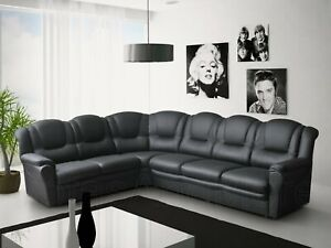 BRAND NEW TEXAS BIG CORNER SOFA IN BLACK FAUX LEATHER LIVING ROOM SUITE