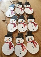 Handmade Personalised Christmas Decorations Hand Painted Snowman Name On Reverse