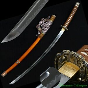 Japanese Katana Tachi Samurai Sword T10 Steel Blade Clay Tempered Sharp #2341