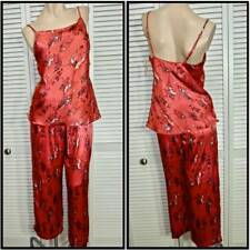 NWT $94 PRIVATE LUXURIES 2pc PAJAMA SET SMALL 'Flower Garden' RED & BLACK SATIN