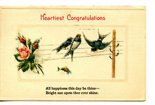 Blue Birds on Telephone Wires-Congratulations-Vintage Greeting 1920 Postcard