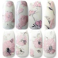 3D Pink Blumen Nagel Sticker Tattoo Aufkleber Nail Art Dekoration Nageldesign
