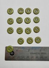 Lot of 16 Green Khaki Sewing Buttons, 5/8 inch