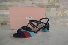 luxus MIU MIU Gr 36,5 Sandaletten Schuhe Ziege multicolor  NEU UVP 490 €