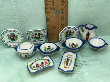 Tiny Quimper Dishes Faience Wedding China Dollhouse Miniatures French Feves