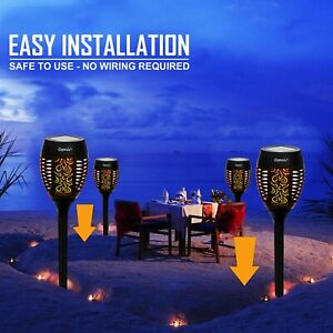96 LED TORCH SOLAR LIGHT PATIO GARDEN DANCING FLICKERING FLAME LAMP