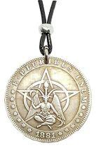 More details for large baphomet pentacle goat pendant medallion beaded tie cord necklace