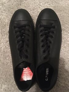 Converse Black Leather Uk 10 Brand New