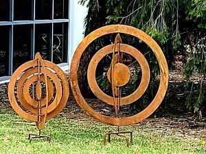 set 2  elliptical design globe circles RUST SPHERE garden backyard sculpture NEW