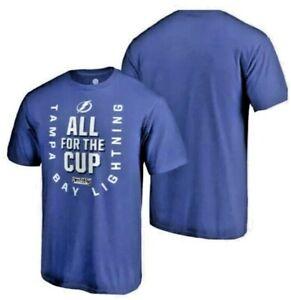 Fanatics NHL Men's Shirt Tampa Bay Small Lightning Playoff Blue Shortsleeve Cup