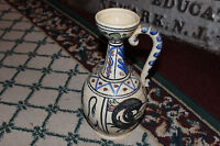 Stunning Toledo Pottery Pitcher W/Applied Handle-Colorful Painted Artwork-LQQK