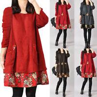 Women Long Sleeve Knitwear Tunic Top Jumper Sweater Plus Size Floral  Mini Dress