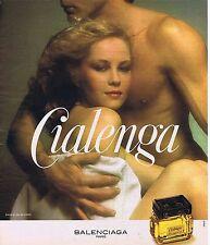 """PUBLICITE ADVERTISING 124 1977 BALENCIAGA  """"Cialenga"""" eau de toilette extrait"""