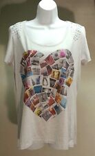 NWT Style&Co Women's Gray Postcard Heart Short Sleeve Top Blouse Size: M