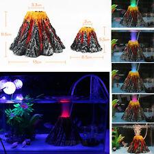 Underwater LED Lighting Effect Volcano Aquarium Ornament Fish Tank Pond Decor