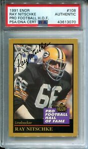 Ray Nitschke Signed 1991 ENOR NFL Pro Football Hall of Fame Card PSA Autograph