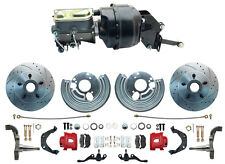 "1966-76 Dodge Dart Front Power 12"" Disc Brake Conversion Kit, Red PC Calipers"