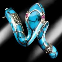 Heated Red Ruby Blue Turquoise Marcasite 925 Sterling Silver Cobra Bangle