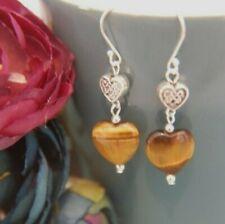 Golden Tiger's Eye HEART Gemstone & Celtic Heart Bead STERLING SILVER Earrings