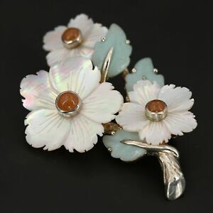 VTG Sterling Silver - Hand Carved Peach Jade & Shell Flowers Brooch Pin - 14g