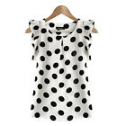 Women Casual Chiffon Blouse Short Sleeve T-shirt Polka Dot Top Crew Neck Clothes