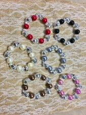 Wholesale Lot 11 pieces Colorful Pearl Look Beaded Stretch Bracelet